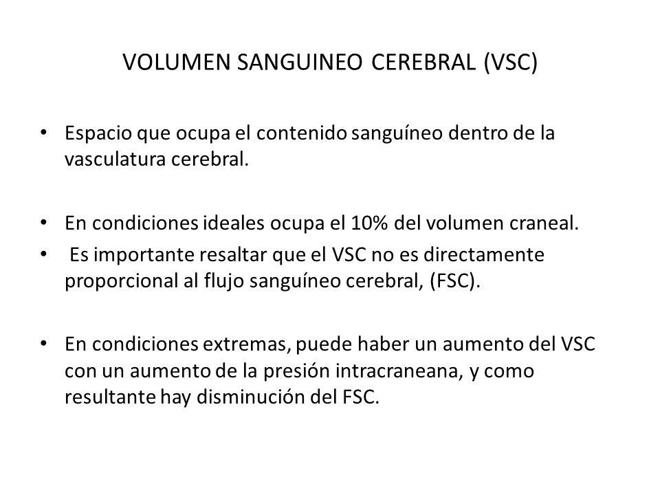 VOLUMEN SANGUINEO CEREBRAL (VSC) Espacio que ocupa el contenido sanguíneo dentro de la vasculatura cerebral. En condiciones ideales ocupa el 10% del v