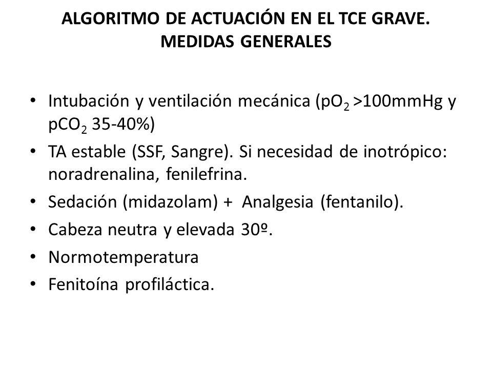 ALGORITMO DE ACTUACIÓN EN EL TCE GRAVE. MEDIDAS GENERALES Intubación y ventilación mecánica (pO 2 >100mmHg y pCO 2 35-40%) TA estable (SSF, Sangre). S