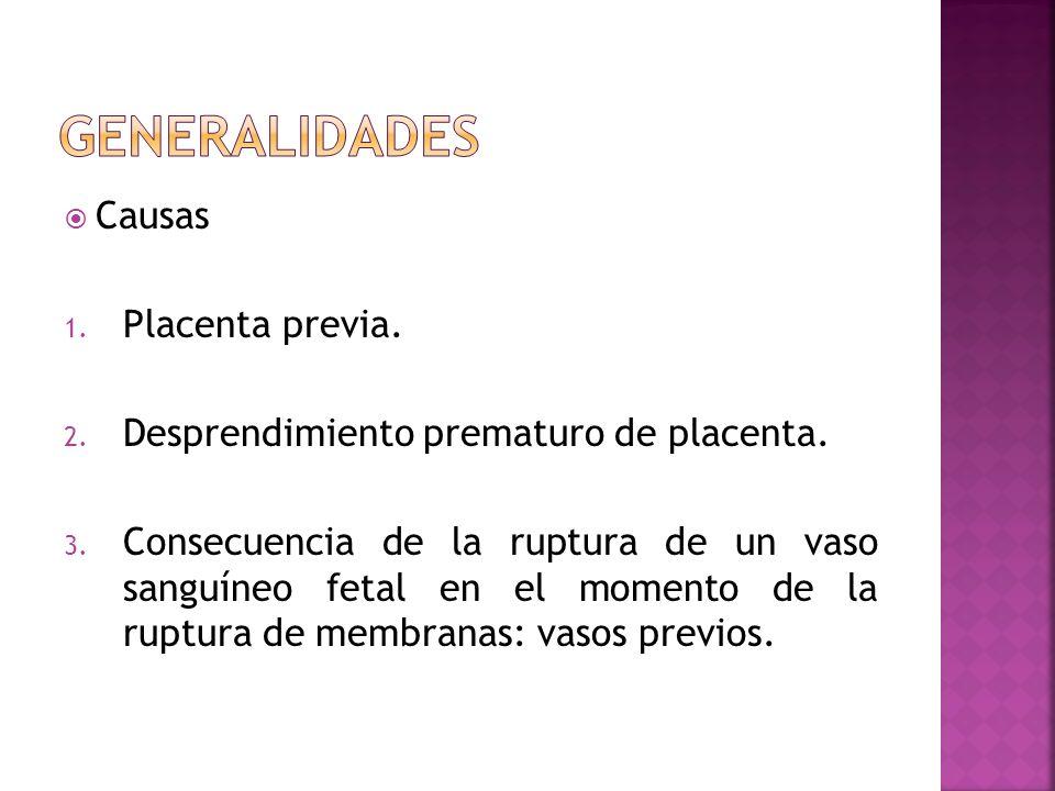Causas 1. Placenta previa. 2. Desprendimiento prematuro de placenta. 3. Consecuencia de la ruptura de un vaso sanguíneo fetal en el momento de la rupt