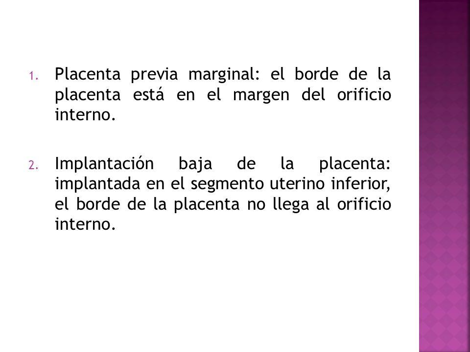 1. Placenta previa marginal: el borde de la placenta está en el margen del orificio interno. 2. Implantación baja de la placenta: implantada en el seg