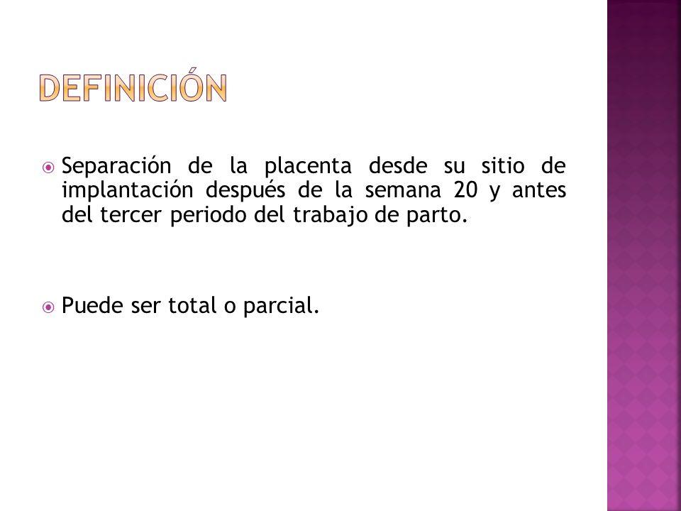 Separación de la placenta desde su sitio de implantación después de la semana 20 y antes del tercer periodo del trabajo de parto. Puede ser total o pa