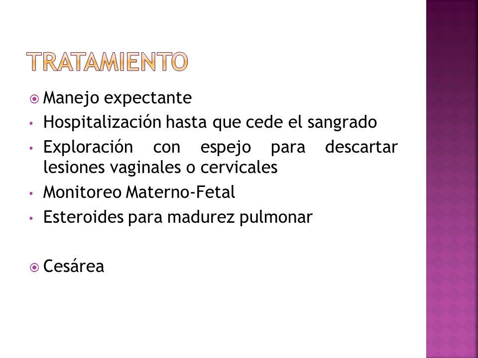 Manejo expectante Hospitalización hasta que cede el sangrado Exploración con espejo para descartar lesiones vaginales o cervicales Monitoreo Materno-F