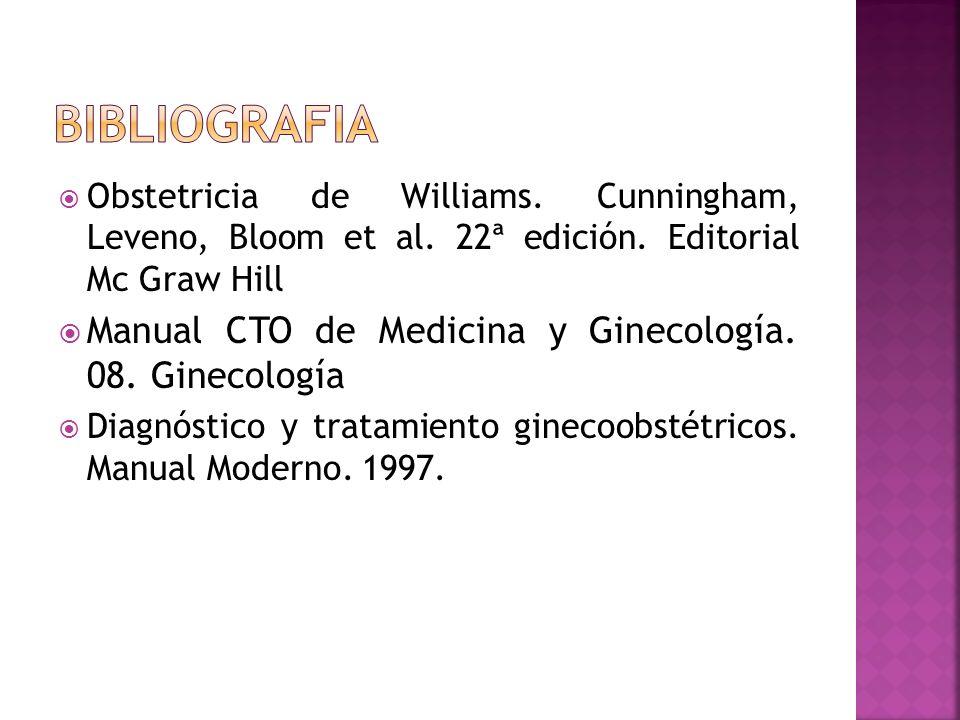 Obstetricia de Williams. Cunningham, Leveno, Bloom et al. 22ª edición. Editorial Mc Graw Hill Manual CTO de Medicina y Ginecología. 08. Ginecología Di