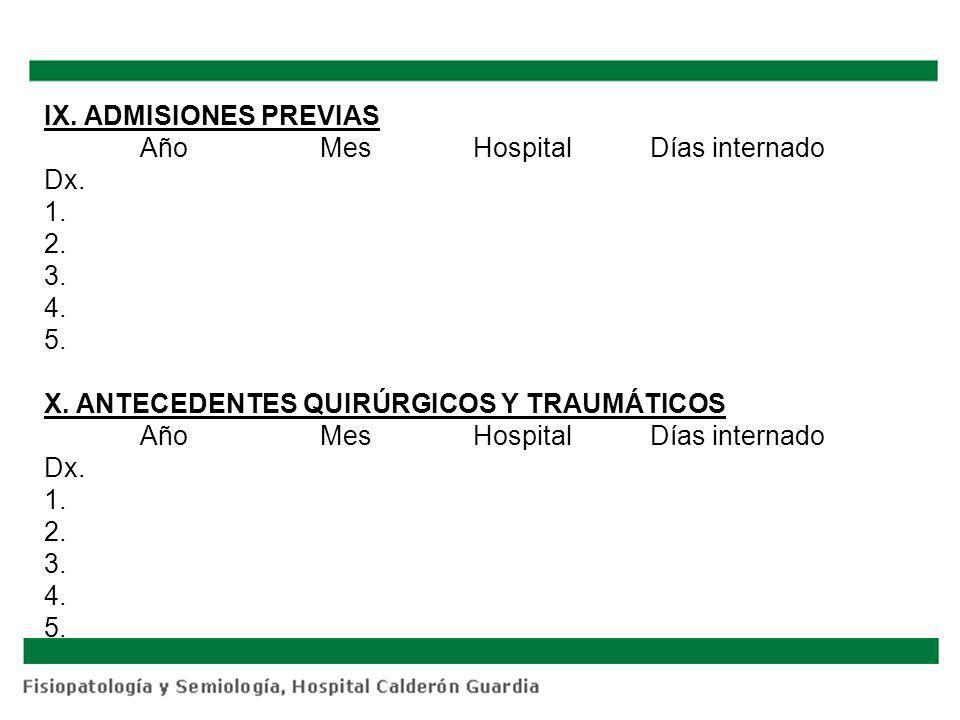 IX. ADMISIONES PREVIAS Año Mes Hospital Días internado Dx. 1. 2. 3. 4. 5. X. ANTECEDENTES QUIRÚRGICOS Y TRAUMÁTICOS Año Mes Hospital Días internado Dx