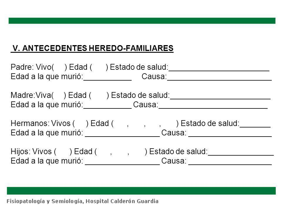 V. ANTECEDENTES HEREDO-FAMILIARES Padre: Vivo( ) Edad ( ) Estado de salud:_______________________ Edad a la que murió:___________ Causa:______________