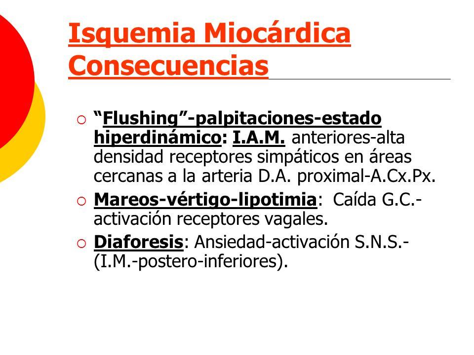 Isquemia Miocárdica Consecuencias Flushing-palpitaciones-estado hiperdinámico: I.A.M. anteriores-alta densidad receptores simpáticos en áreas cercanas