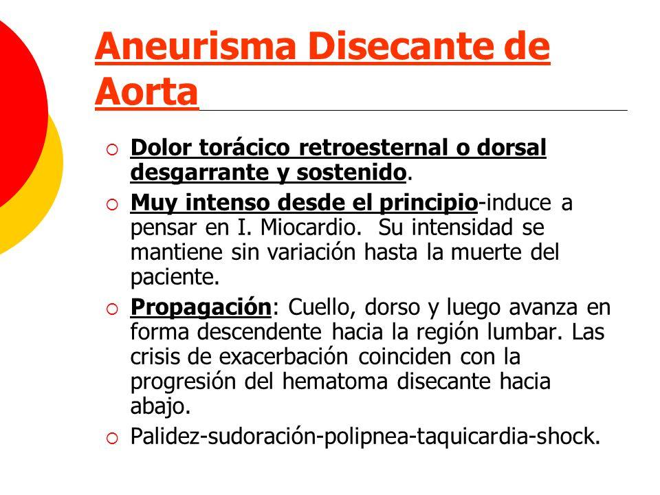 Aneurisma Disecante de Aorta Dolor torácico retroesternal o dorsal desgarrante y sostenido. Muy intenso desde el principio-induce a pensar en I. Mioca