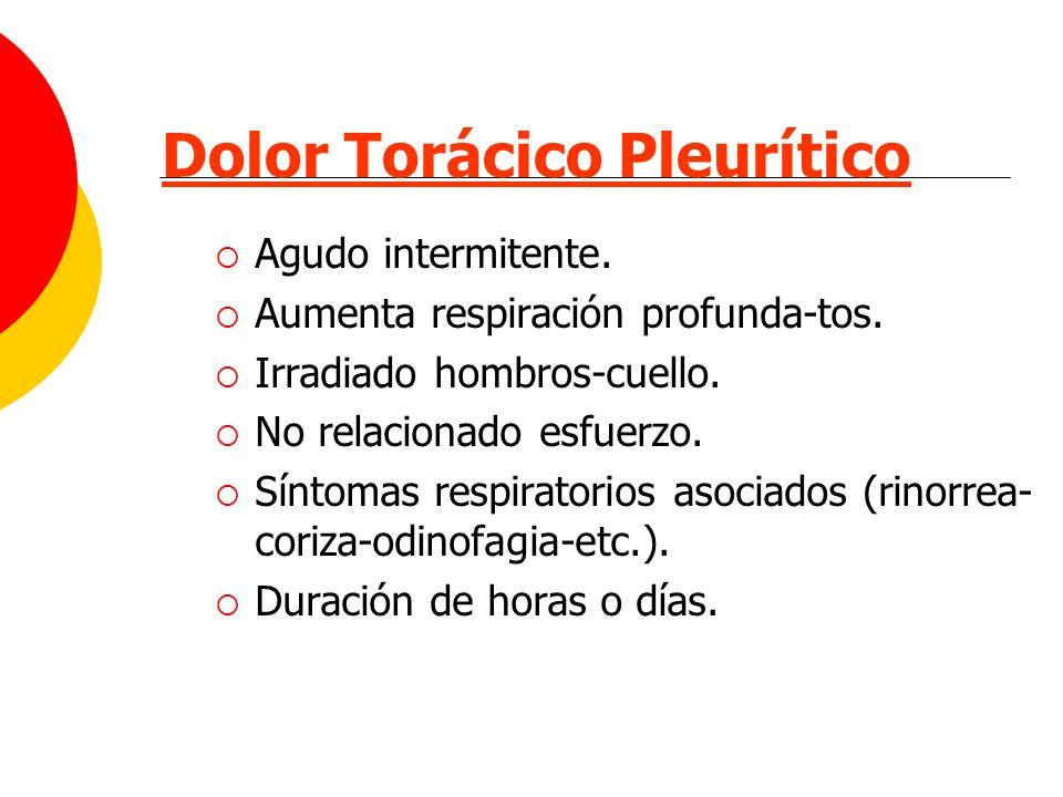 Dolor Torácico Pleurítico Agudo intermitente. Aumenta respiración profunda-tos. Irradiado hombros-cuello. No relacionado esfuerzo. Síntomas respirator
