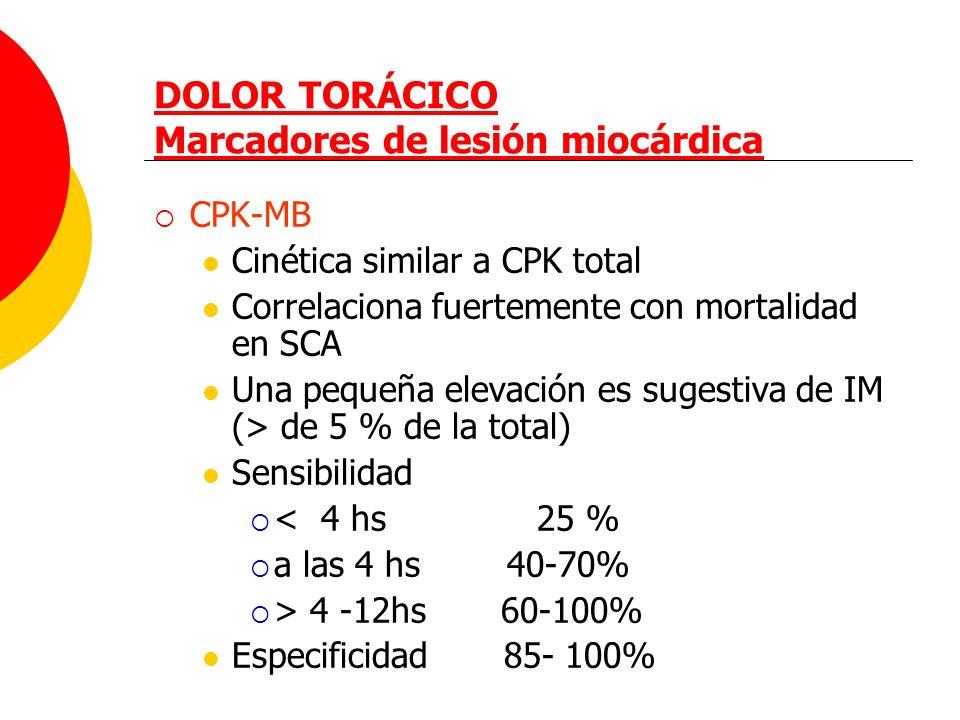 DOLOR TORÁCICO Marcadores de lesión miocárdica CPK-MB Cinética similar a CPK total Correlaciona fuertemente con mortalidad en SCA Una pequeña elevació