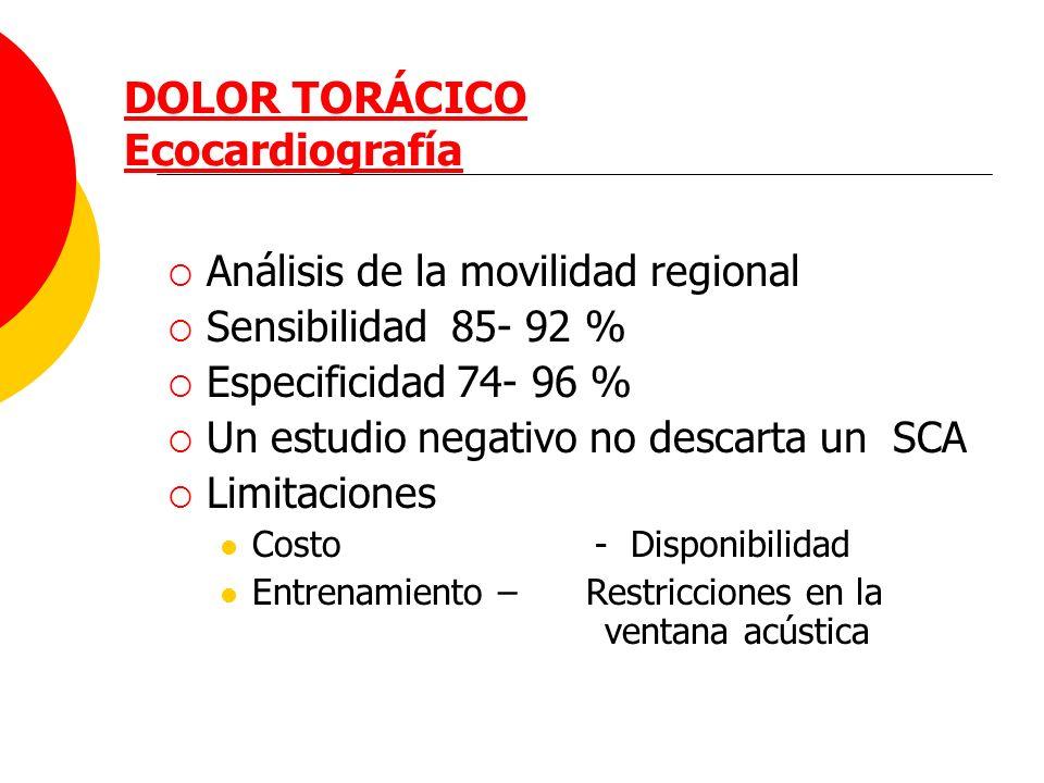 DOLOR TORÁCICO Ecocardiografía Análisis de la movilidad regional Sensibilidad 85- 92 % Especificidad 74- 96 % Un estudio negativo no descarta un SCA L