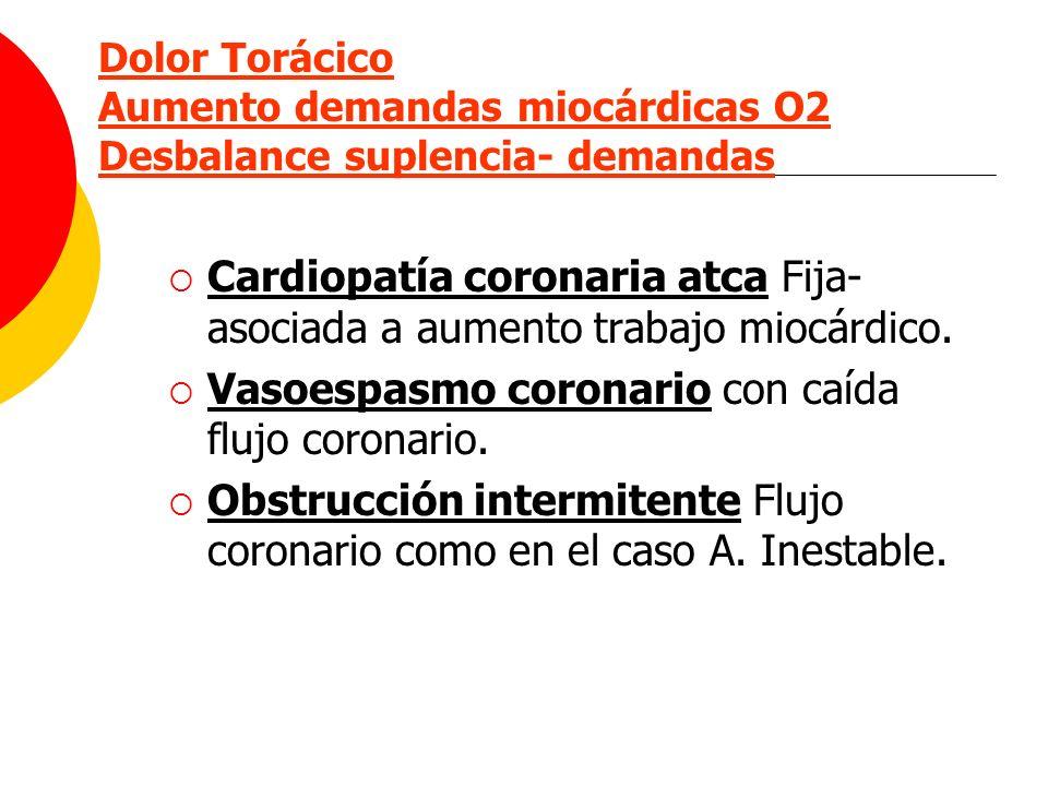 Dolor Torácico Aumento demandas miocárdicas O2 Desbalance suplencia- demandas Cardiopatía coronaria atca Fija- asociada a aumento trabajo miocárdico.