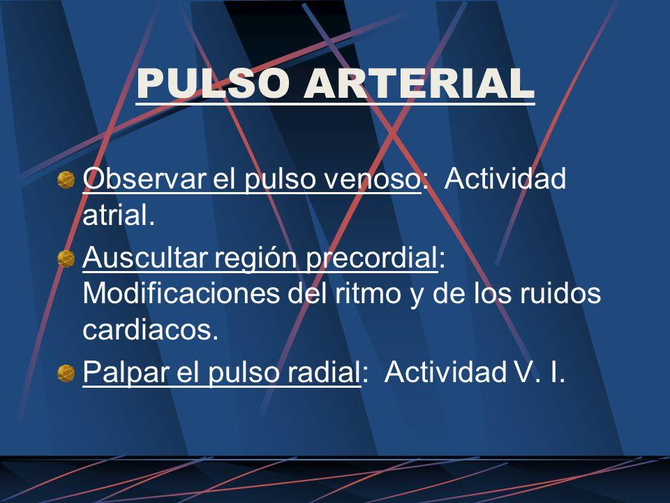 PULSO ARTERIAL Observar el pulso venoso: Actividad atrial. Auscultar región precordial: Modificaciones del ritmo y de los ruidos cardiacos. Palpar el