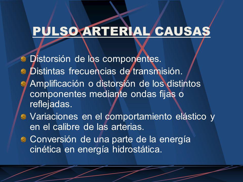 PULSO ARTERIAL CAUSAS Distorsión de los componentes. Distintas frecuencias de transmisión. Amplificación o distorsión de los distintos componentes med