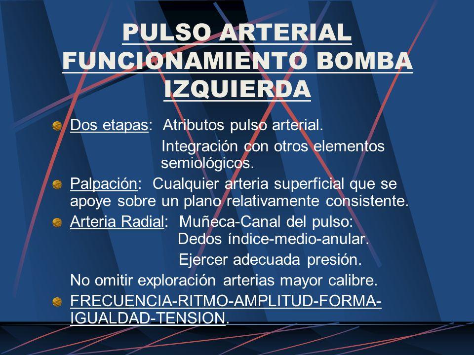 PULSO ARTERIAL FUNCIONAMIENTO BOMBA IZQUIERDA Dos etapas: Atributos pulso arterial. Integración con otros elementos semiológicos. Palpación: Cualquier