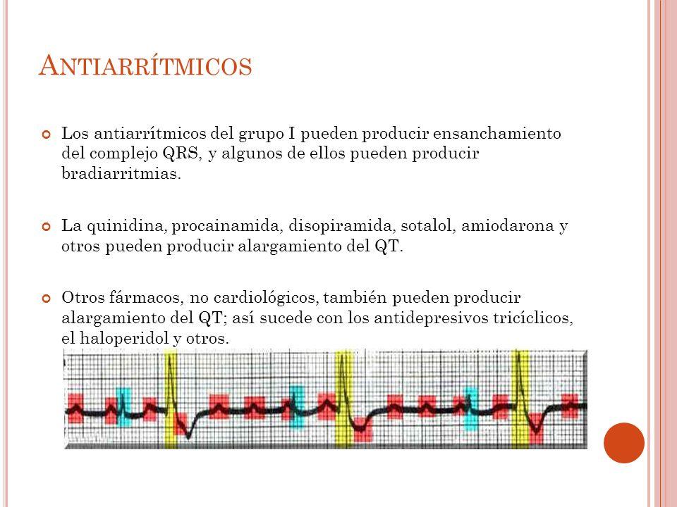 A NTIARRÍTMICOS Los antiarrítmicos del grupo I pueden producir ensanchamiento del complejo QRS, y algunos de ellos pueden producir bradiarritmias.