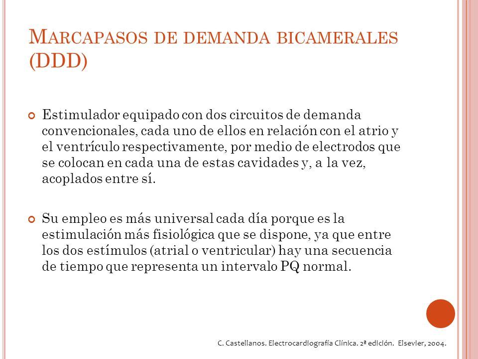 M ARCAPASOS DE DEMANDA BICAMERALES (DDD) Estimulador equipado con dos circuitos de demanda convencionales, cada uno de ellos en relación con el atrio y el ventrículo respectivamente, por medio de electrodos que se colocan en cada una de estas cavidades y, a la vez, acoplados entre sí.