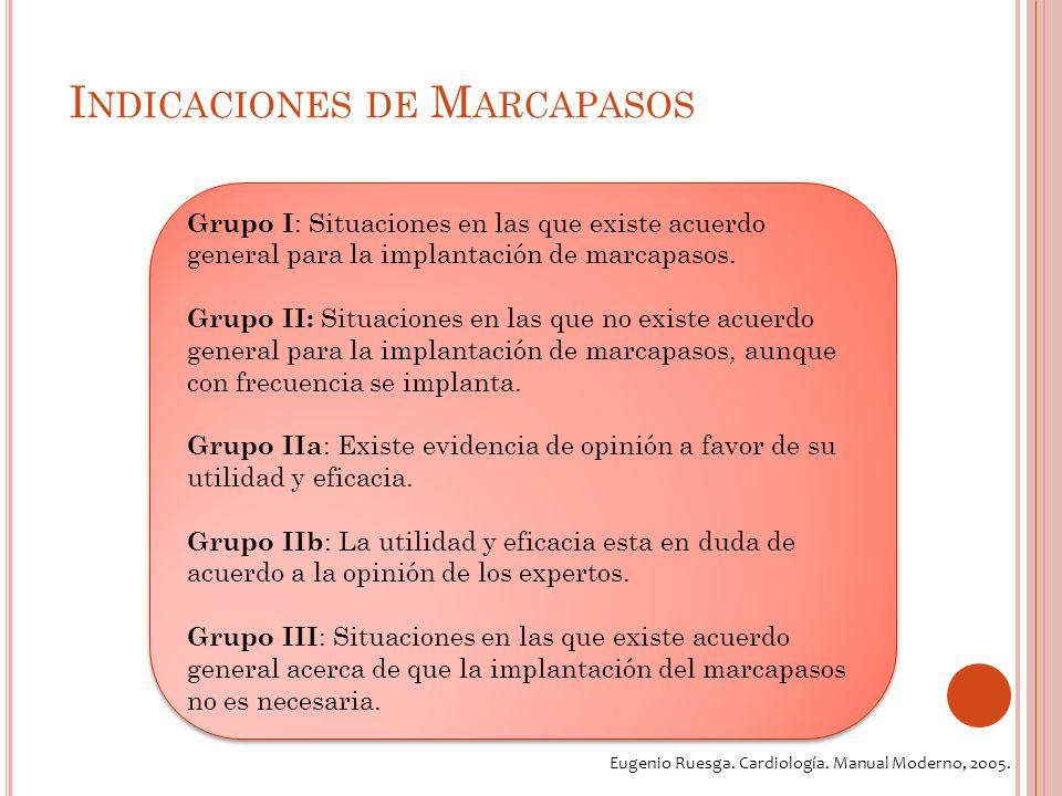 I NDICACIONES DE M ARCAPASOS Grupo I : Situaciones en las que existe acuerdo general para la implantación de marcapasos.