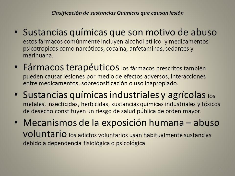Clasificación de sustancias Químicas que causan lesión Sustancias químicas que son motivo de abuso estos fármacos comúnmente incluyen alcohol etílico