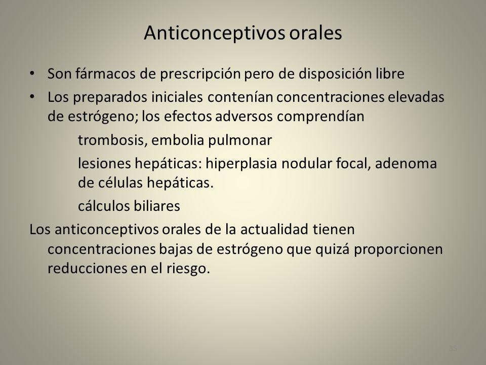 Anticonceptivos orales Son fármacos de prescripción pero de disposición libre Los preparados iniciales contenían concentraciones elevadas de estrógeno