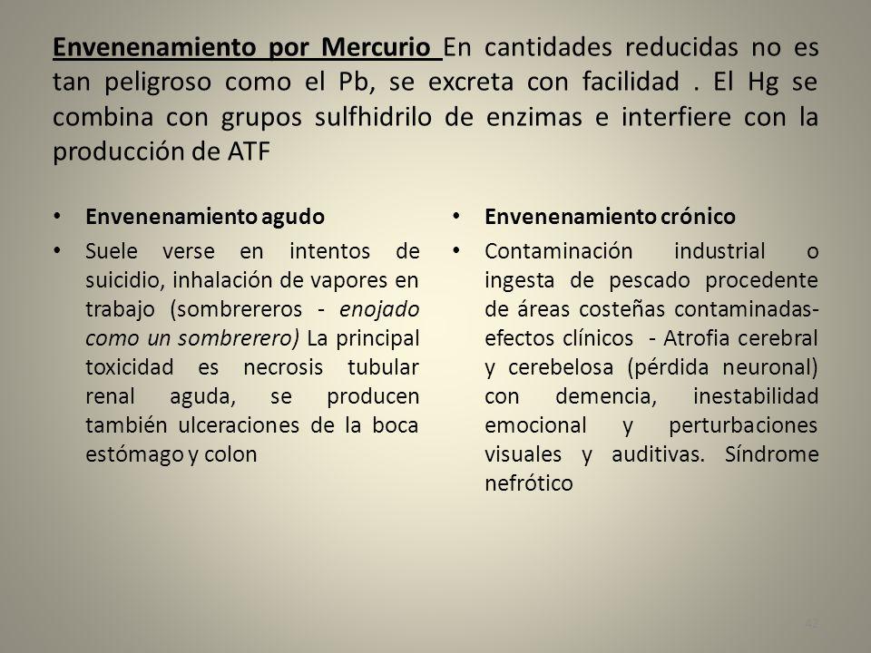 Envenenamiento por Mercurio En cantidades reducidas no es tan peligroso como el Pb, se excreta con facilidad. El Hg se combina con grupos sulfhidrilo