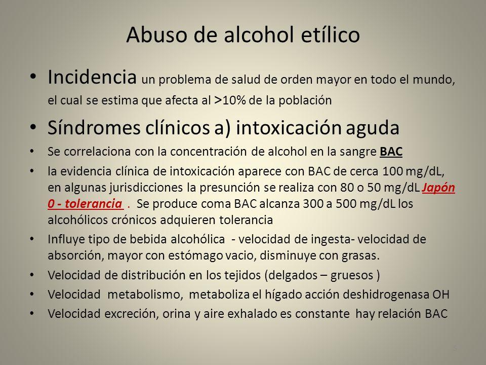 Abuso de alcohol etílico Incidencia un problema de salud de orden mayor en todo el mundo, el cual se estima que afecta al > 10% de la población Síndro