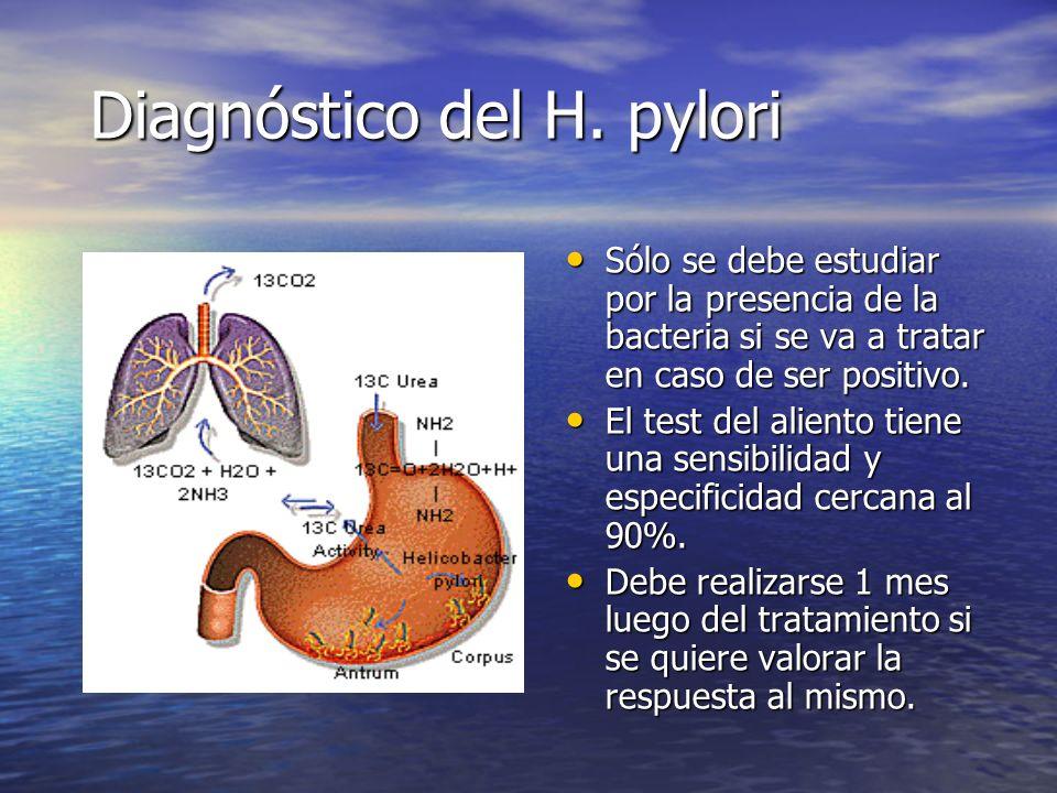 Diagnóstico del H. pylori Sólo se debe estudiar por la presencia de la bacteria si se va a tratar en caso de ser positivo. Sólo se debe estudiar por l
