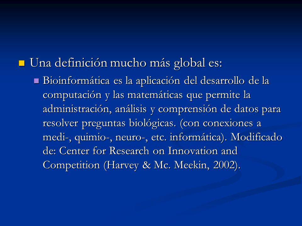 Una definición mucho más global es: Una definición mucho más global es: Bioinformática es la aplicación del desarrollo de la computación y las matemáticas que permite la administración, análisis y comprensión de datos para resolver preguntas biológicas.