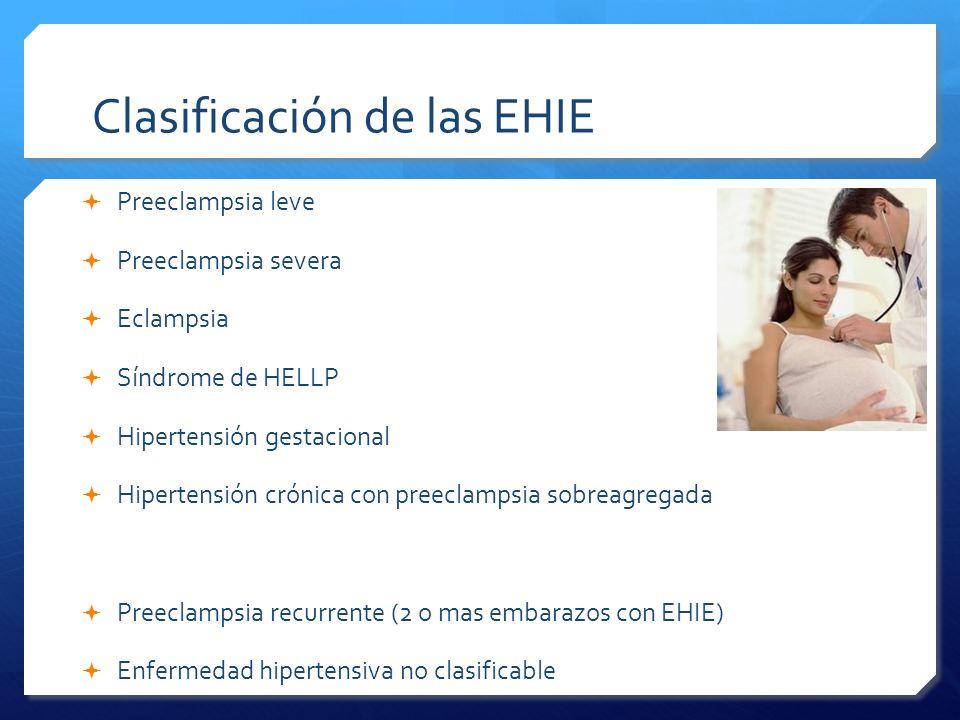 Clasificación de las EHIE Preeclampsia leve Preeclampsia severa Eclampsia Síndrome de HELLP Hipertensión gestacional Hipertensión crónica con preeclam