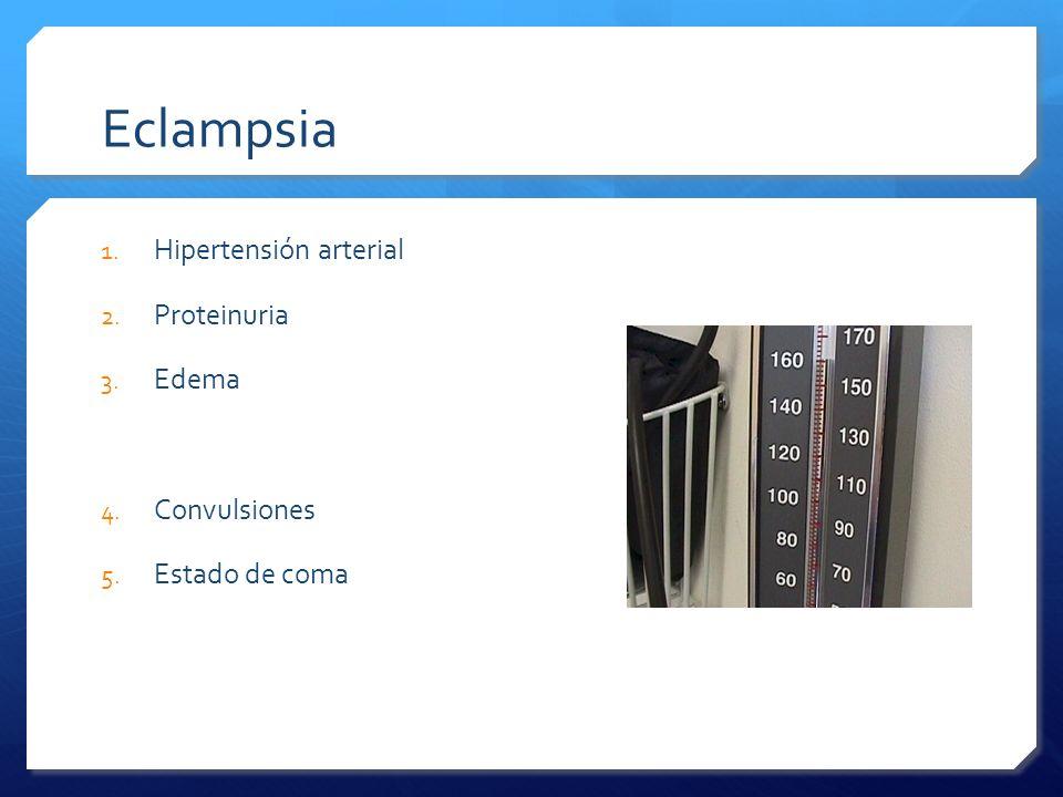 Eclampsia 1. Hipertensión arterial 2. Proteinuria 3. Edema 4. Convulsiones 5. Estado de coma