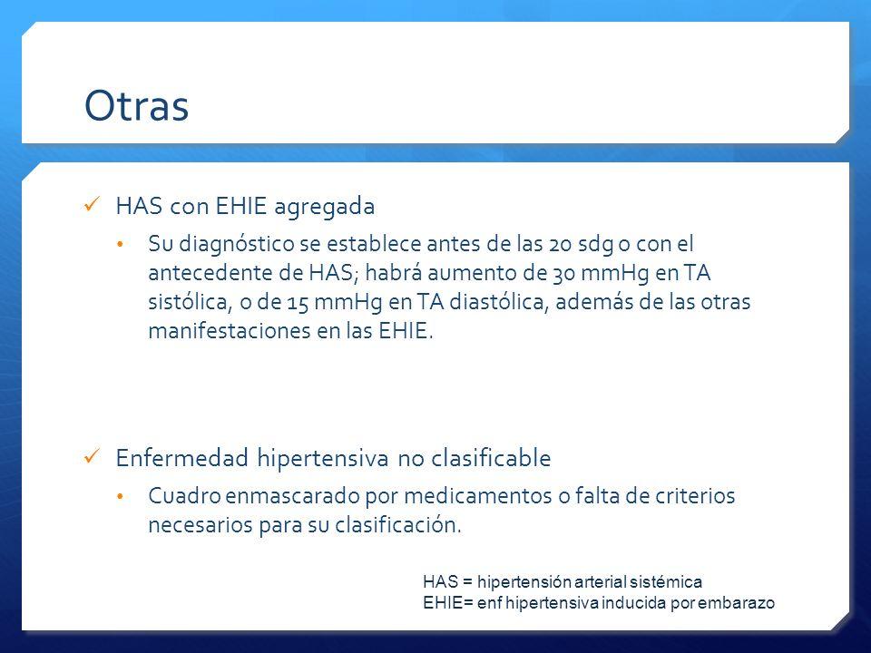 Otras HAS con EHIE agregada Su diagnóstico se establece antes de las 20 sdg o con el antecedente de HAS; habrá aumento de 30 mmHg en TA sistólica, o d