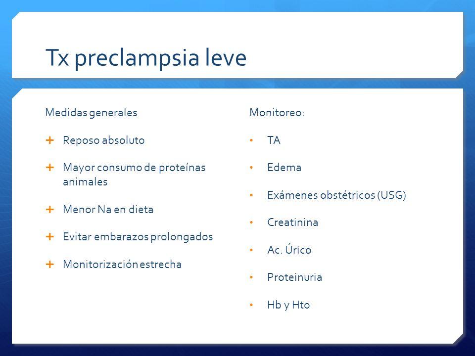 Tx preclampsia leve Medidas generales Reposo absoluto Mayor consumo de proteínas animales Menor Na en dieta Evitar embarazos prolongados Monitorizació