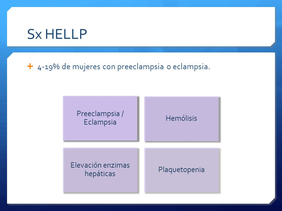 4-19% de mujeres con preeclampsia o eclampsia. Preeclampsia / Eclampsia Hemólisis Elevación enzimas hepáticas Plaquetopenia