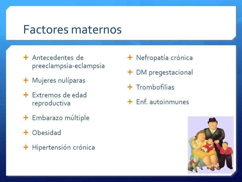 Antecedentes de preeclampsia-eclampsia Mujeres nulíparas Extremos de edad reproductiva Embarazo múltiple Obesidad Hipertensión crónica Nefropatía crón