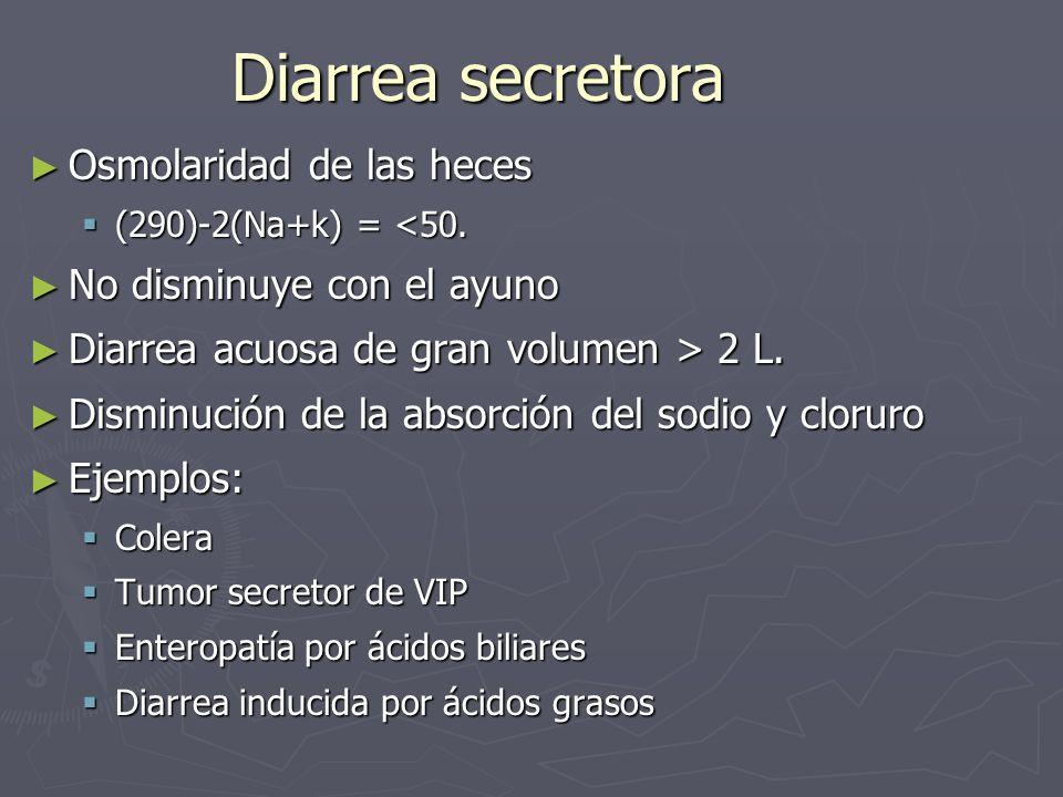 Diarrea secretora Osmolaridad de las heces Osmolaridad de las heces (290)-2(Na+k) = <50. (290)-2(Na+k) = <50. No disminuye con el ayuno No disminuye c