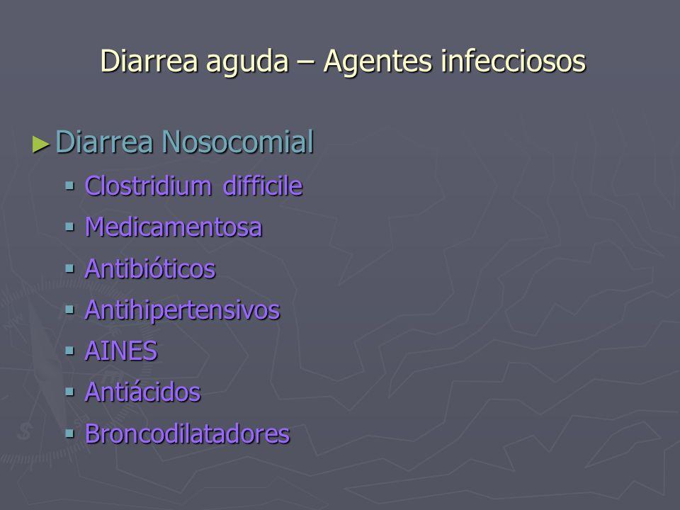 Diarrea aguda – Agentes infecciosos Diarrea Nosocomial Diarrea Nosocomial Clostridium difficile Clostridium difficile Medicamentosa Medicamentosa Anti
