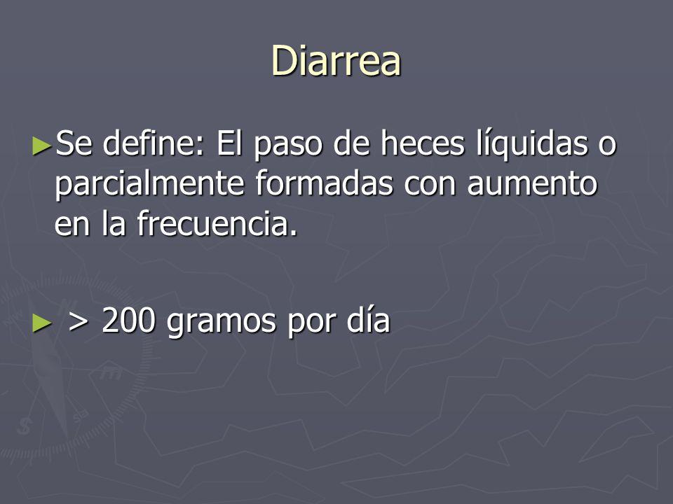 Diarrea Se define: El paso de heces líquidas o parcialmente formadas con aumento en la frecuencia. Se define: El paso de heces líquidas o parcialmente