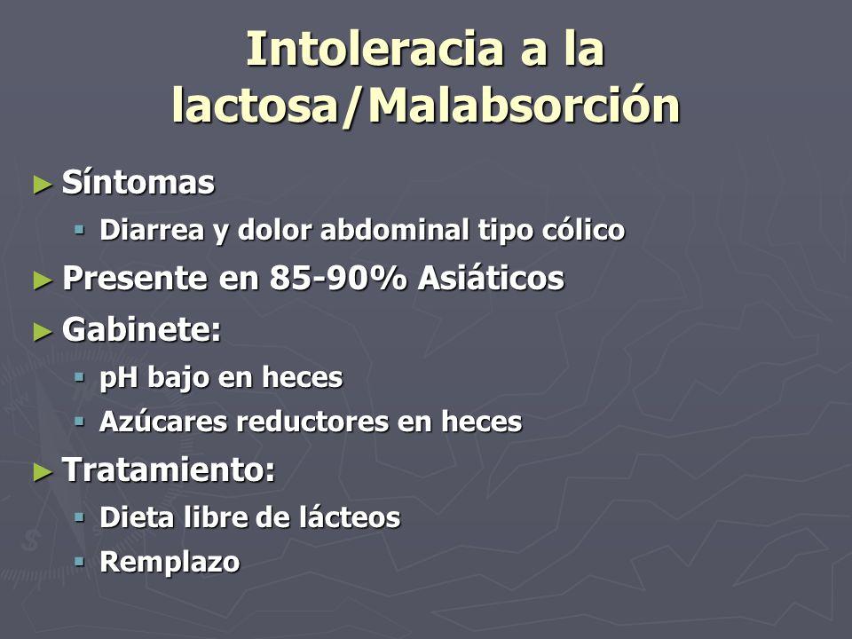 Intoleracia a la lactosa/Malabsorción Síntomas Síntomas Diarrea y dolor abdominal tipo cólico Diarrea y dolor abdominal tipo cólico Presente en 85-90%
