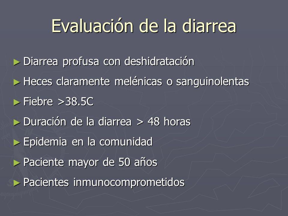 Evaluación de la diarrea Diarrea profusa con deshidratación Diarrea profusa con deshidratación Heces claramente melénicas o sanguinolentas Heces clara
