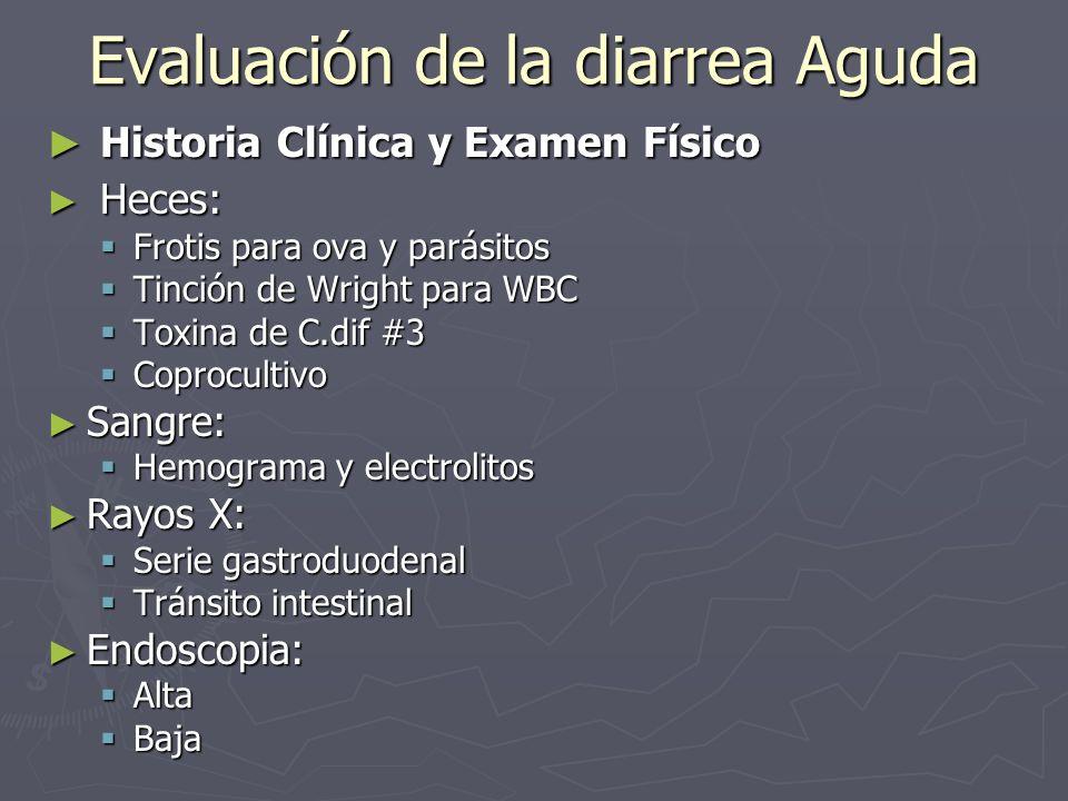 Evaluación de la diarrea Aguda Historia Clínica y Examen Físico Historia Clínica y Examen Físico Heces: Heces: Frotis para ova y parásitos Frotis para