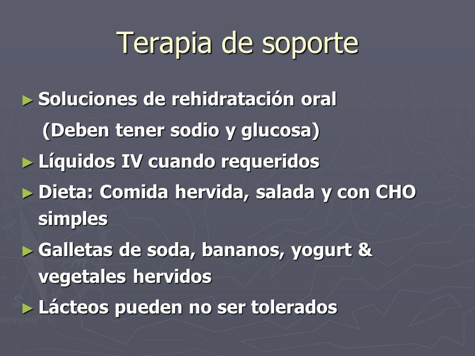 Terapia de soporte Soluciones de rehidratación oral Soluciones de rehidratación oral (Deben tener sodio y glucosa) (Deben tener sodio y glucosa) Líqui