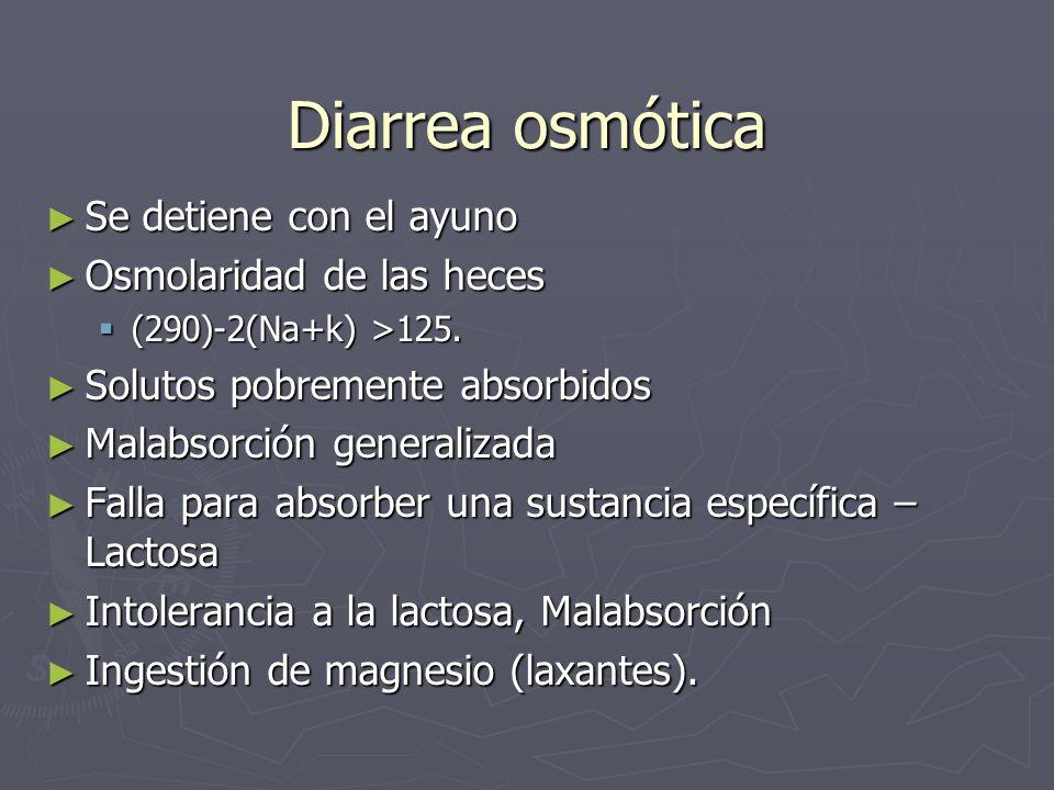 Diarrea osmótica Se detiene con el ayuno Se detiene con el ayuno Osmolaridad de las heces Osmolaridad de las heces (290)-2(Na+k) >125. (290)-2(Na+k) >