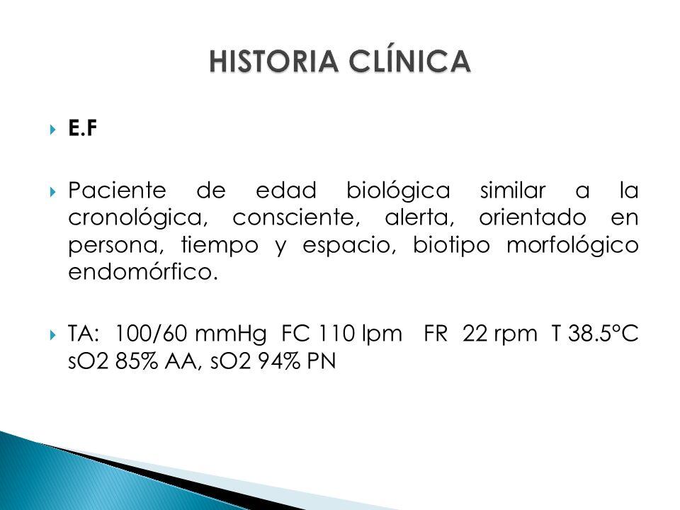 E.F Paciente de edad biológica similar a la cronológica, consciente, alerta, orientado en persona, tiempo y espacio, biotipo morfológico endomórfico.