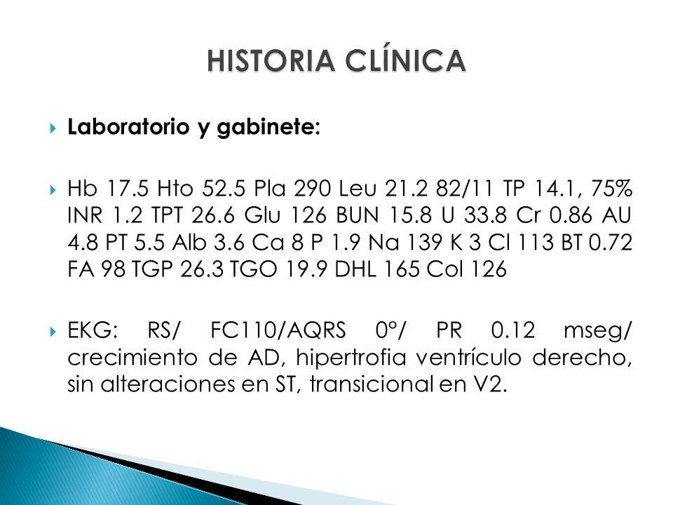 Laboratorio y gabinete: Hb 17.5 Hto 52.5 Pla 290 Leu 21.2 82/11 TP 14.1, 75% INR 1.2 TPT 26.6 Glu 126 BUN 15.8 U 33.8 Cr 0.86 AU 4.8 PT 5.5 Alb 3.6 Ca 8 P 1.9 Na 139 K 3 Cl 113 BT 0.72 FA 98 TGP 26.3 TGO 19.9 DHL 165 Col 126 EKG: RS/ FC110/AQRS 0°/ PR 0.12 mseg/ crecimiento de AD, hipertrofia ventrículo derecho, sin alteraciones en ST, transicional en V2.