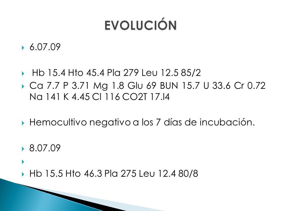 6.07.09 Hb 15.4 Hto 45.4 Pla 279 Leu 12.5 85/2 Ca 7.7 P 3.71 Mg 1.8 Glu 69 BUN 15.7 U 33.6 Cr 0.72 Na 141 K 4.45 Cl 116 CO2T 17.l4 Hemocultivo negativo a los 7 días de incubación.