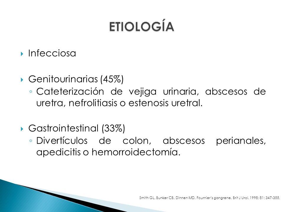 Infecciosa Genitourinarias (45%) Cateterización de vejiga urinaria, abscesos de uretra, nefrolitiasis o estenosis uretral.
