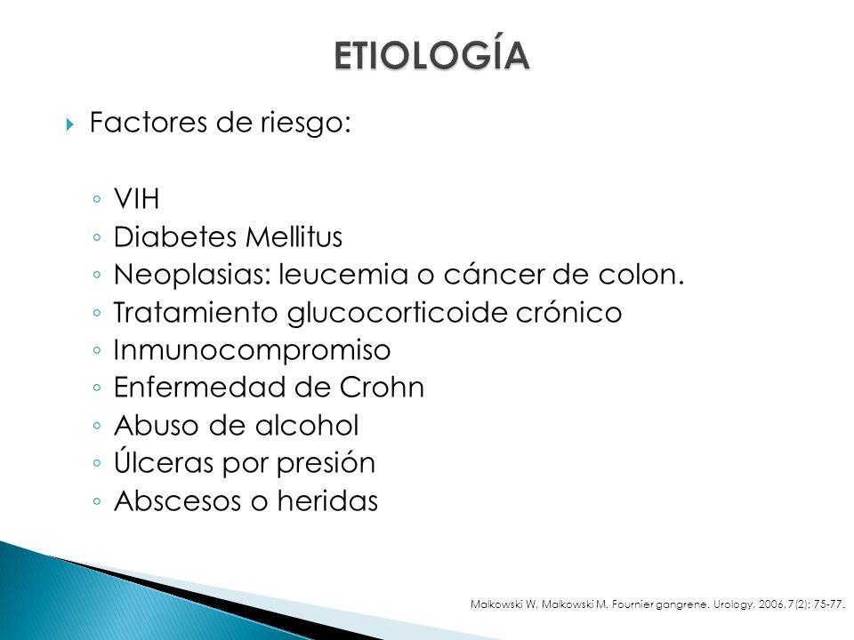 Factores de riesgo: VIH Diabetes Mellitus Neoplasias: leucemia o cáncer de colon.