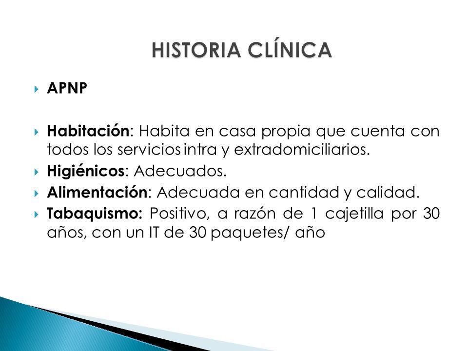 APNP Etilismo: Ocasional, social Toxicomanías : Negadas Tipo de sangre y RH: Desconoce.