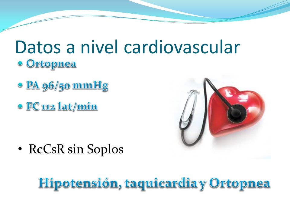 Datos a nivel cardiovascular RcCsR sin Soplos