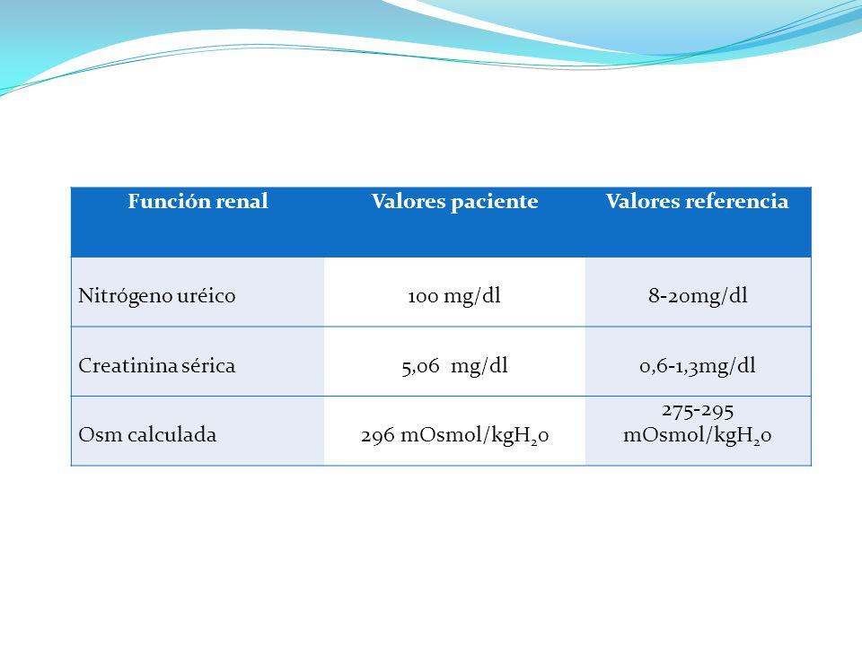 Función renalValores pacienteValores referencia Nitrógeno uréico100 mg/dl8-20mg/dl Creatinina sérica5,06 mg/dl0,6-1,3mg/dl Osm calculada296 mOsmol/kgH