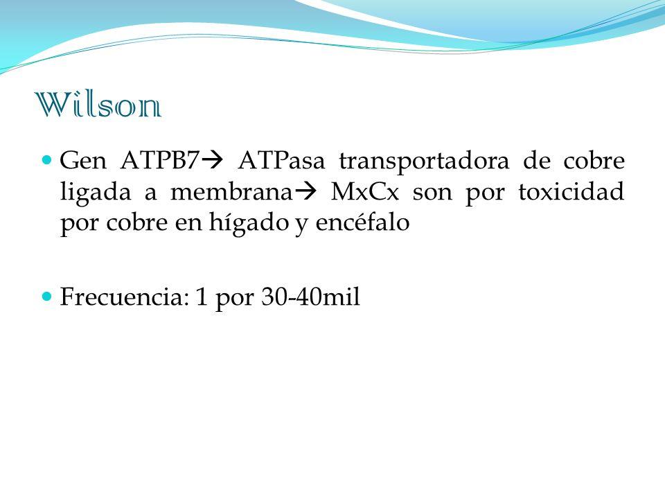 Wilson Gen ATPB7 ATPasa transportadora de cobre ligada a membrana MxCx son por toxicidad por cobre en hígado y encéfalo Frecuencia: 1 por 30-40mil